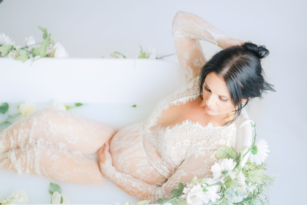 milkbath maternity soft greenery feminine portrait